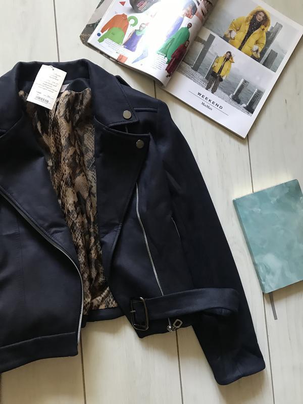 Темно синяя куртка косуха под замш - Фото 5
