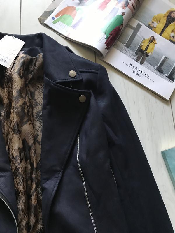 Темно синяя куртка косуха под замш - Фото 7