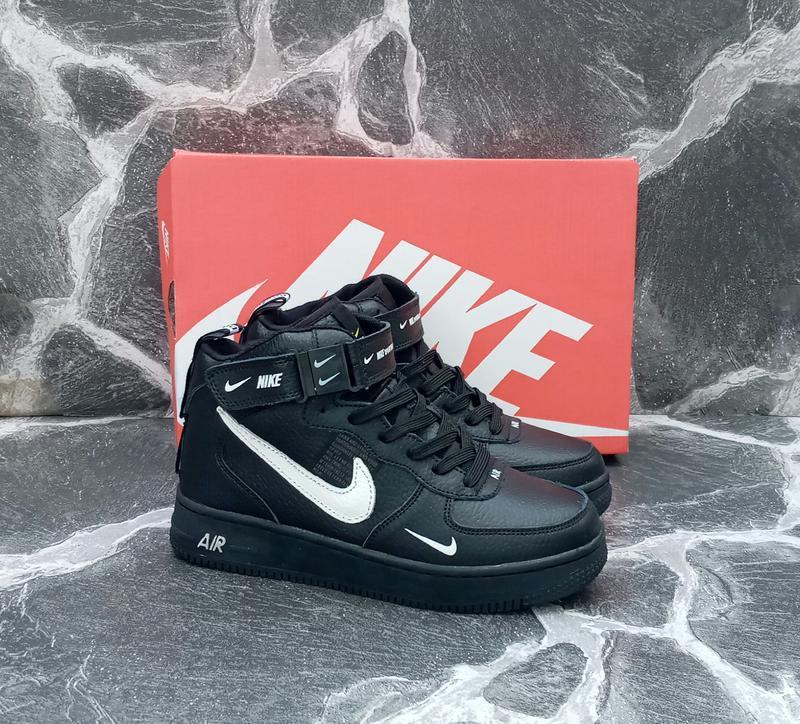 Подростковые зимние кроссовки nike air force winter кожаные,че...