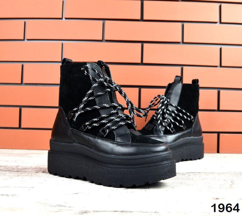 Натуральная кожа кожаные осенние сапоги ботинки на платформе н...