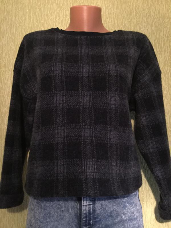 Свитшот свитер укороченный в клетку topshop 10 размер