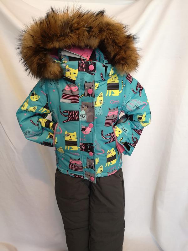 Мембранный мятный тёплый зимний костюм 98-122 рост