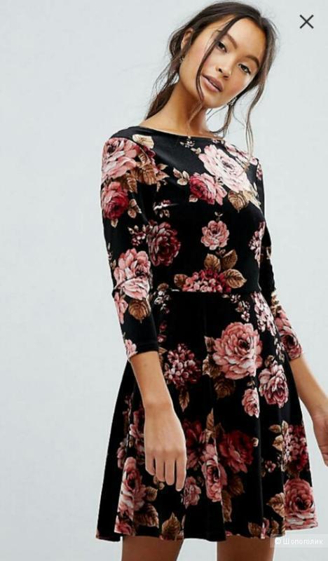 Платье бархатное в цветы new look 10 размер