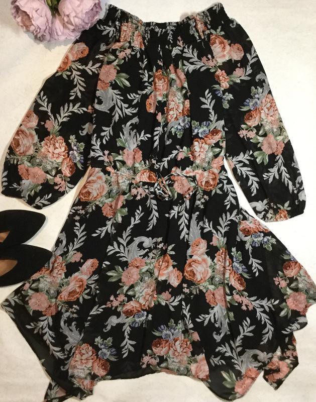Платье шифоновое в цветы на плечи new look размер 16/18