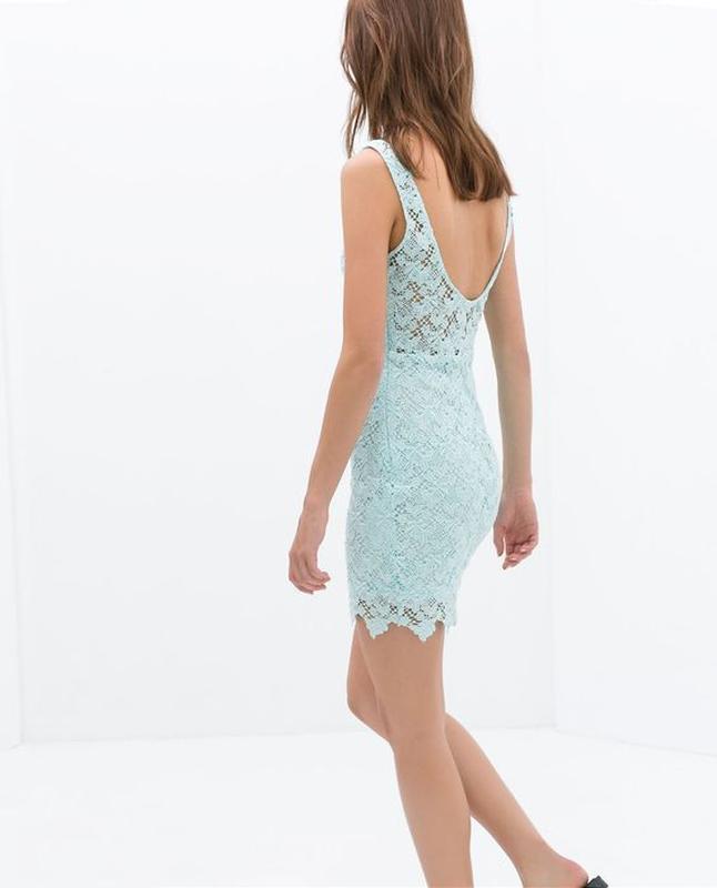 Бирюзовое платье женское zara л мини - Фото 4