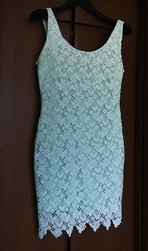 Бирюзовое платье женское zara л мини - Фото 6
