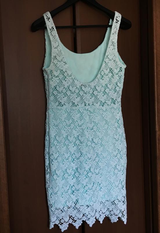 Бирюзовое платье женское zara л мини - Фото 7