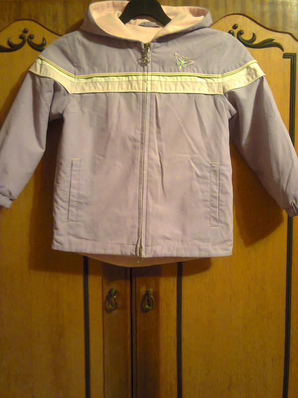 Фиолетовая теплая курточка на девочку 5-8 лет. рост 122-134 см.