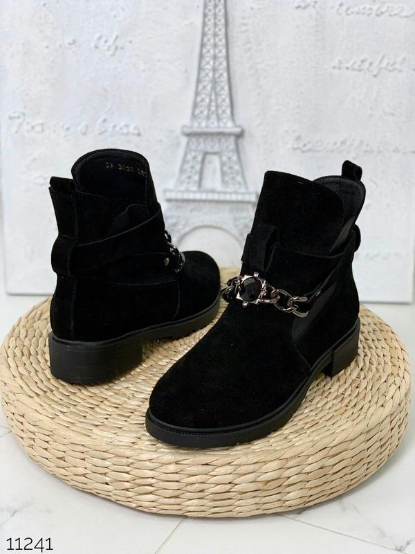 Стильные черные ботиночки деми из натуральной замши
