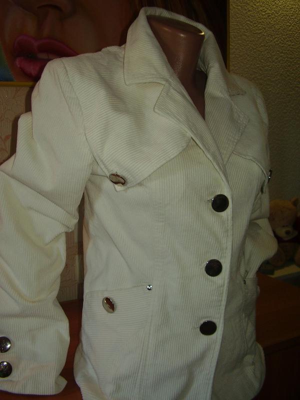 Итальянский вельветовый белоснежный пиджак удлиненный - Фото 3