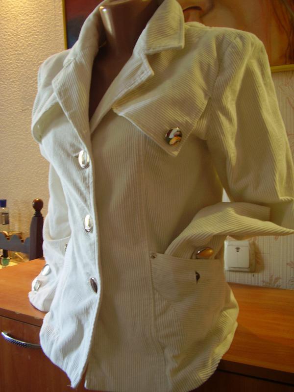 Итальянский вельветовый белоснежный пиджак удлиненный - Фото 4