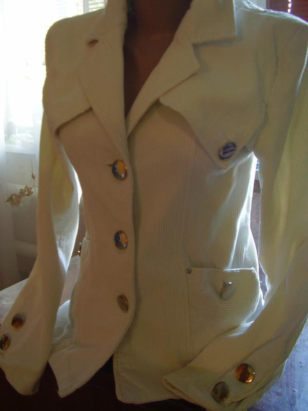 Итальянский вельветовый белоснежный пиджак удлиненный - Фото 5