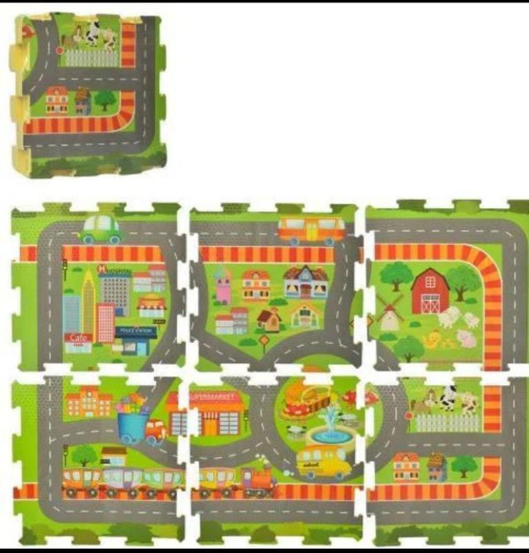 Детский коврик-мат Городок с дорогой напольный 6 деталей