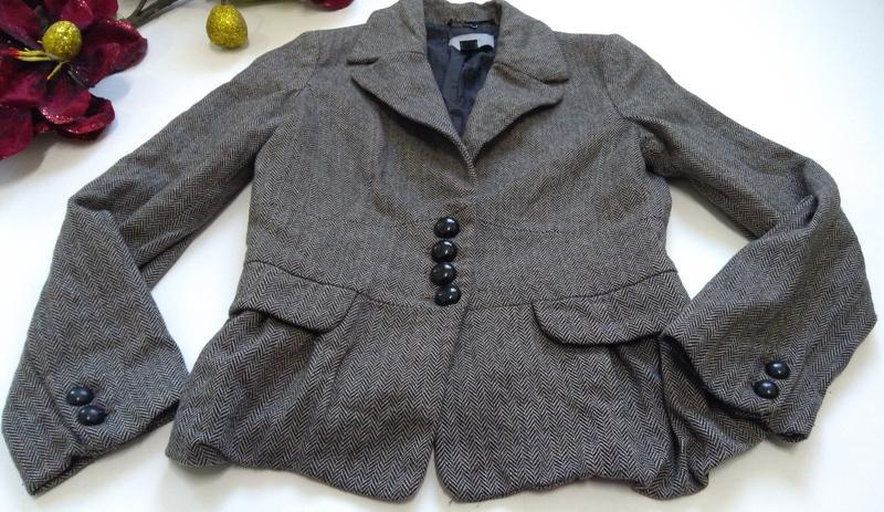 Кашемировый серый пиджак на пуговицах размер 40 - Фото 3