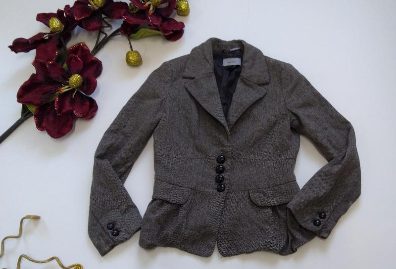 Кашемировый серый пиджак на пуговицах размер 40 - Фото 7