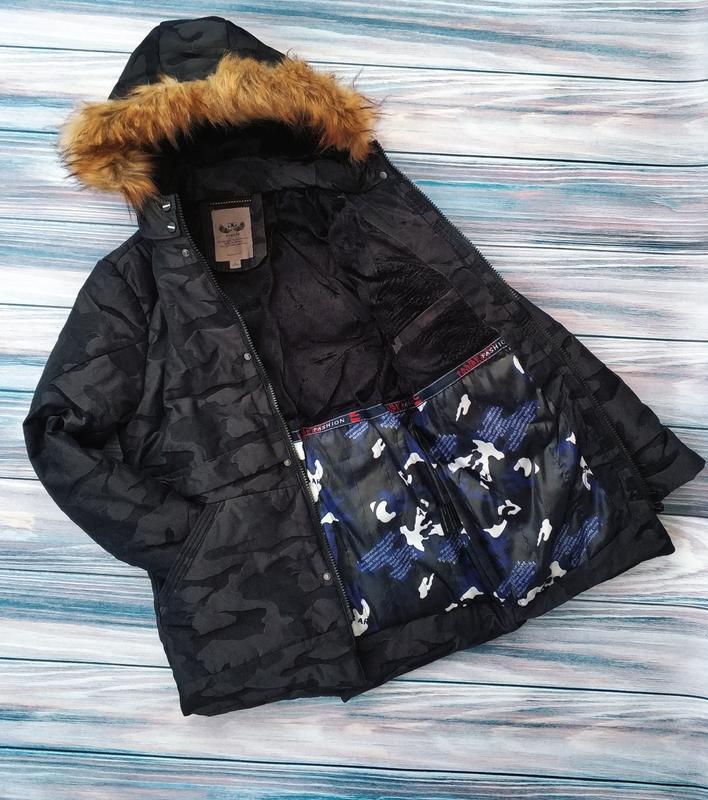 Мужская зимняя куртка в камуфляжный принт , парка см...