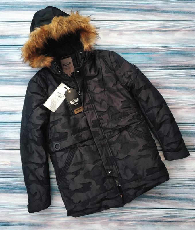 Мужская зимняя куртка в камуфляжный принт , парка см... - Фото 2