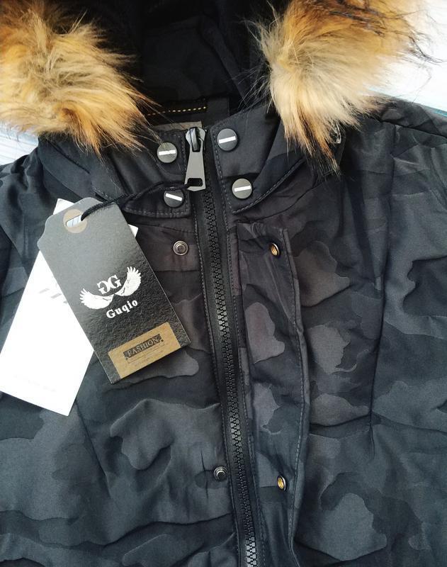 Мужская зимняя куртка в камуфляжный принт , парка см... - Фото 3