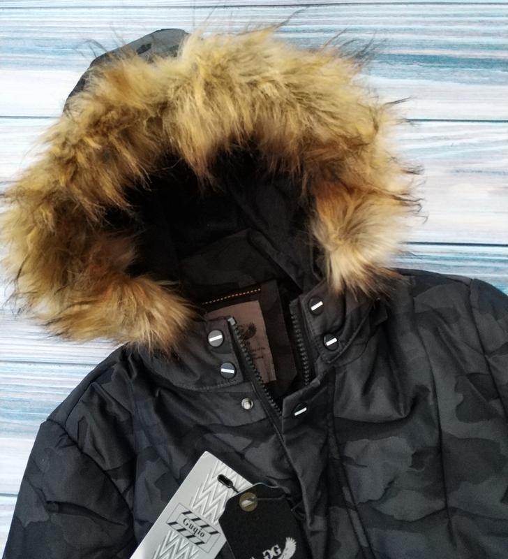 Мужская зимняя куртка в камуфляжный принт , парка см... - Фото 5