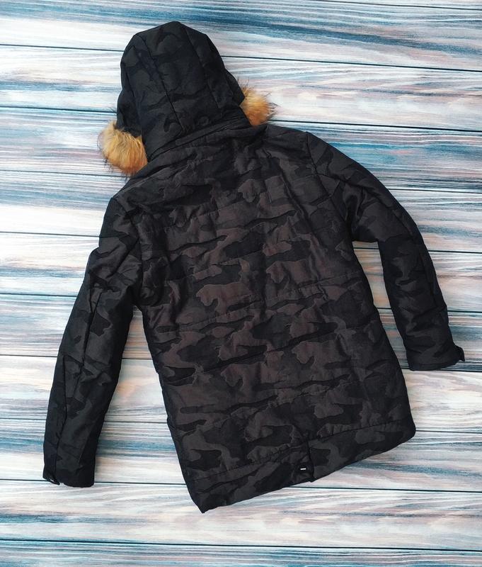 Мужская зимняя куртка в камуфляжный принт , парка см... - Фото 6