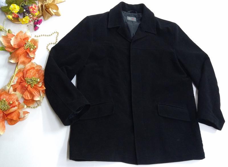 Черный удлиненный пиджак на потайных пуговицах размер 52 - Фото 2