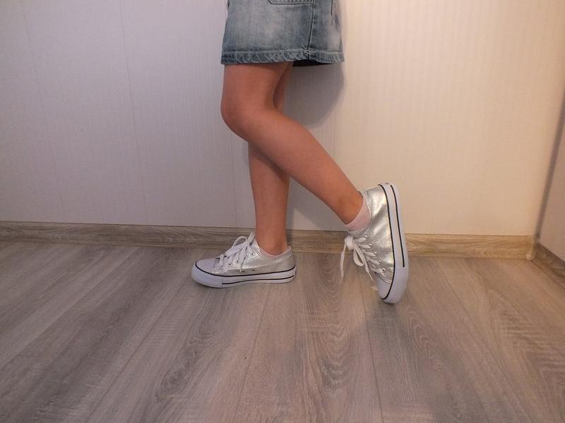 Серебристые кеды!блестящие кроссовки!слипоны!мокасины на девоч... - Фото 3