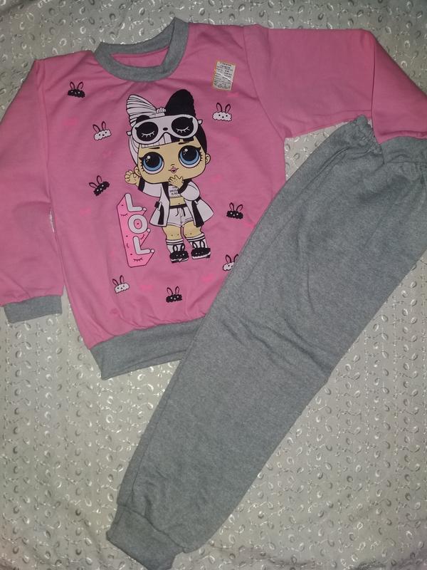 Пижама на девочку с начесом 110р лол