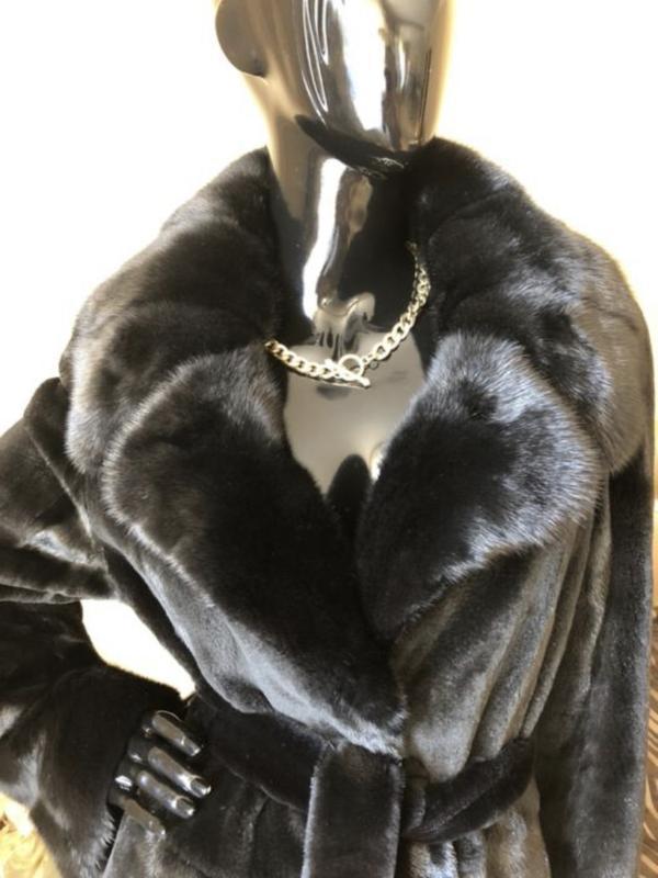 Норковая шуба 120 см бренда li sa fur италия, полустрижка, хал... - Фото 2