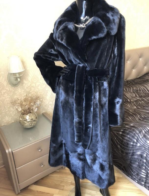 Норковая шуба 120 см бренда li sa fur италия, полустрижка, хал... - Фото 7