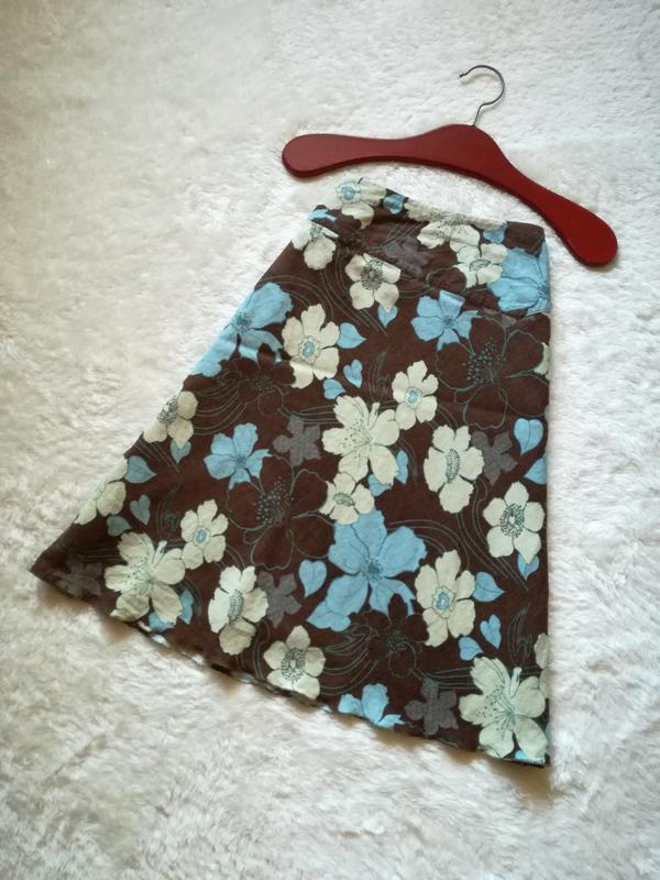 Льняная юбка трапеция миди длины р.36