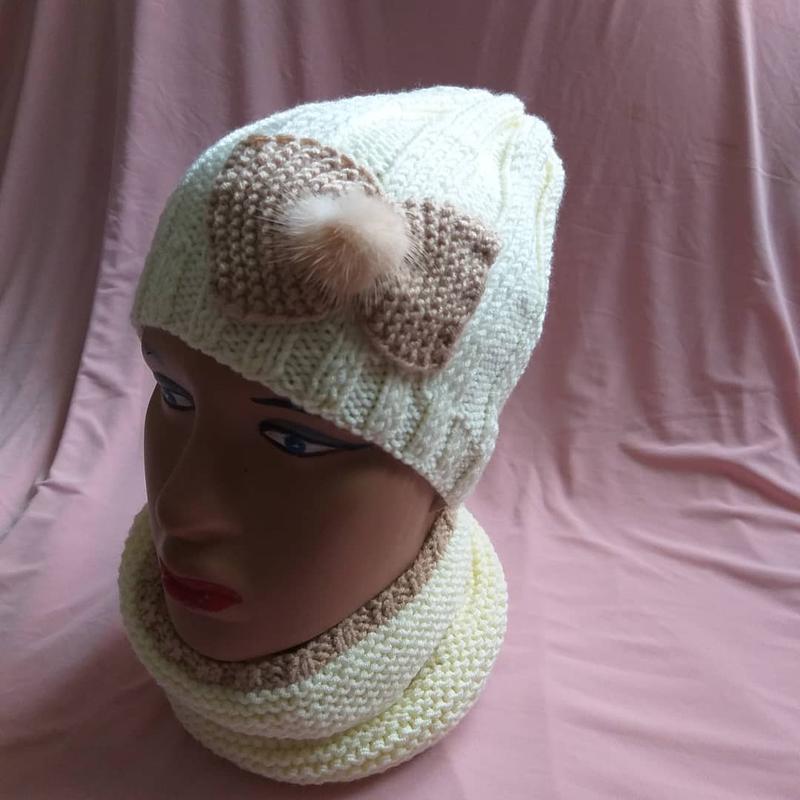 В'язані шапки та берети - Фото 12