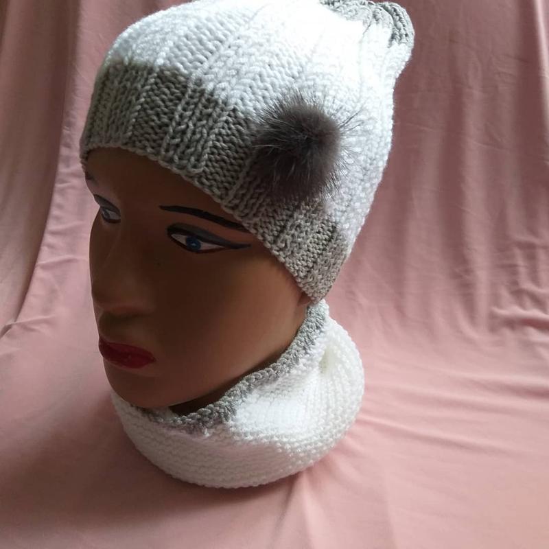 В'язані шапки та берети - Фото 17