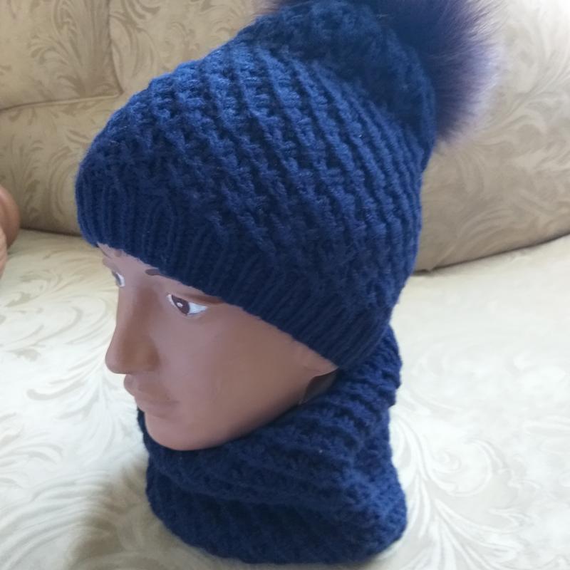 В'язані шапки та берети - Фото 20