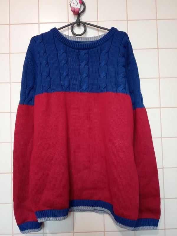 Красно синий теплый вязаный свитер  john lewis