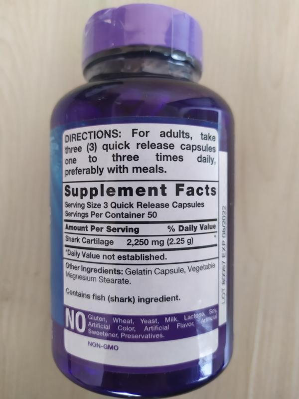 Акулий хрящ, хондроитин, 750 мг 150 капсул Piping Rock США. - Фото 2