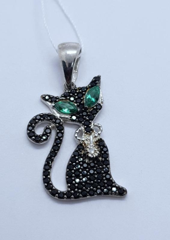 Серебряная подвеска черная кошка