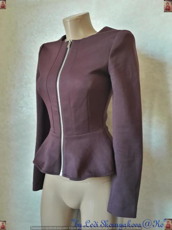 Фирменный h&m пиджак/жакет/кофта с баской в цвете бордо/марсал... - Фото 3
