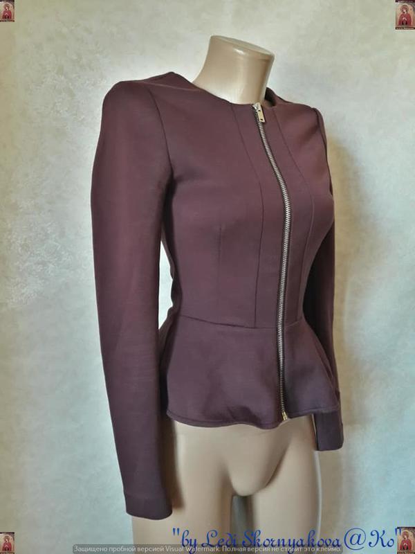 Фирменный h&m пиджак/жакет/кофта с баской в цвете бордо/марсал... - Фото 4