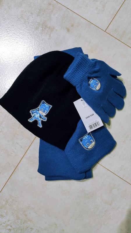 Комплект шапка, перчатки, шарф герои в масках, pjmasks