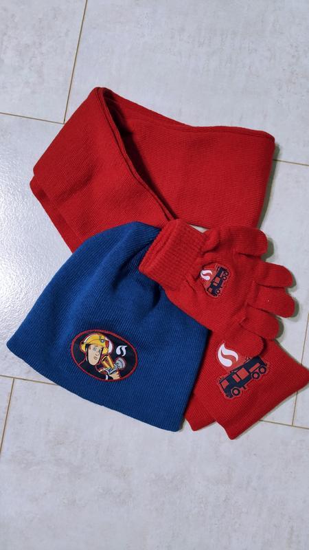 Комплект шапка+перчатки+шарф fireman sam