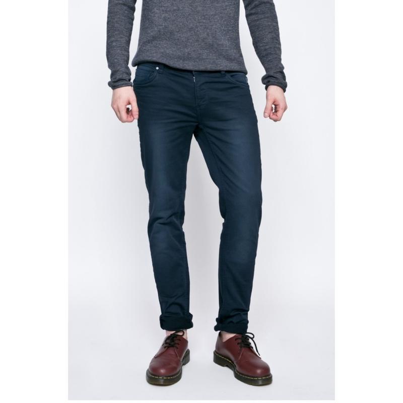 Брюки синие джинсового кроя плотные зауженные blend