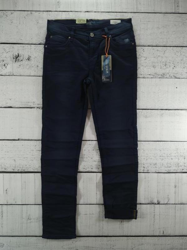 Брюки синие джинсового кроя плотные зауженные blend - Фото 4