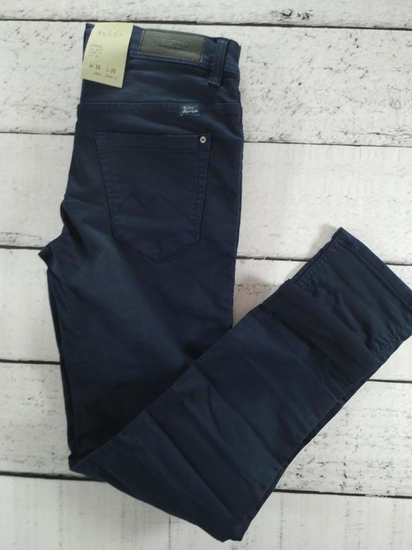 Брюки синие джинсового кроя плотные зауженные blend - Фото 5