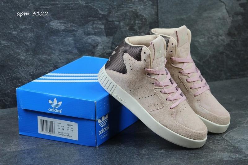 Кроссовки adidas tubular invader розовые пудра высокие ботинки...