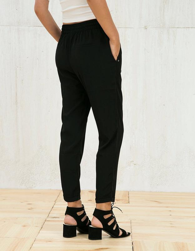 Чёрные штаны бершка з подкатом класика bershka ❤️ - Фото 2