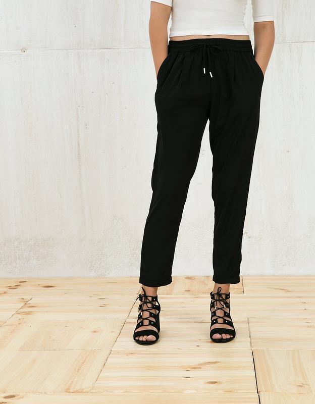 Чёрные штаны бершка з подкатом класика bershka ❤️
