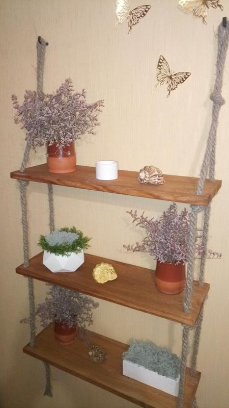 """Полка настенная, натуральное дерево (сосна), """"loft"""" - Фото 3"""
