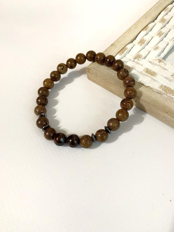 Мужской браслет из дерева, деревянный браслет коричневый
