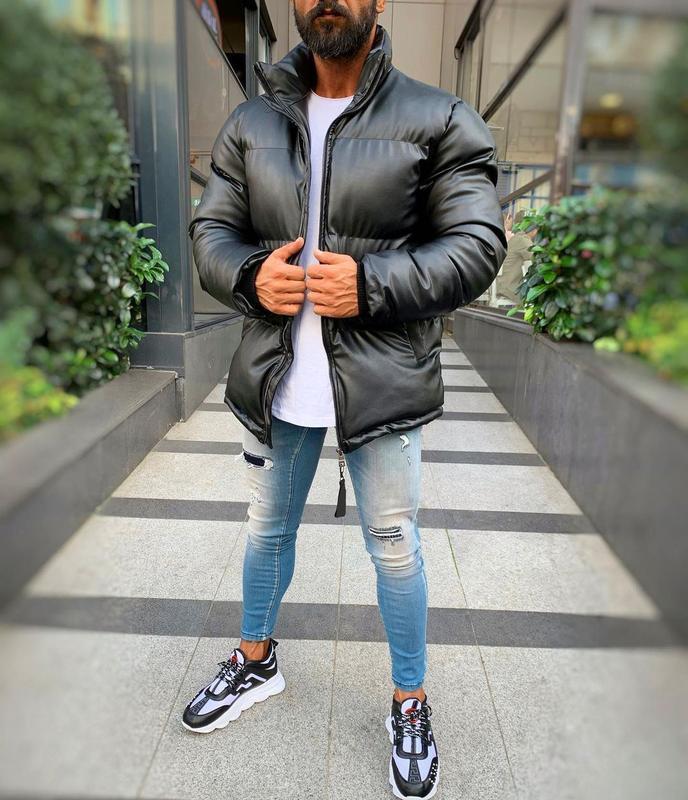 Кожаная мужская зимняя куртка пуховик черного цвета - Фото 2