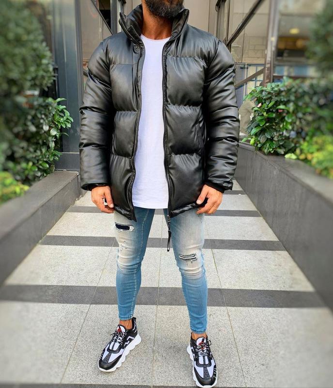 Кожаная мужская зимняя куртка пуховик черного цвета - Фото 5